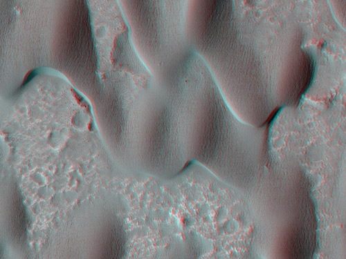 These dunes are on the floor of Herschel Crater, an impact basin from the ancient southern mountains of Mars; their shape is a result of the wind that blows mostly in only one direction