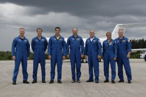 After arriving at NASA's Kennedy Space Center in Florida to prepare for space shuttle Endeavour's July 11 launch on the 29th assembly flight to the International Space Station, the STS-127 crew members pose for a final photo before leaving the Shuttle Landing Facility. Image credit: NASA/Kim Shiflett