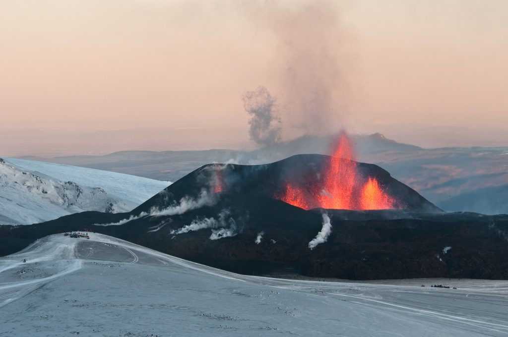The first fissure that opened on Fimmvörðuháls, as seen from Austurgígar. Photo by David Karnå.
