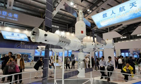 A model of the Tiangong-1 space station at the Airshow China exhibition. Photograph: Ranwen/Imaginechina