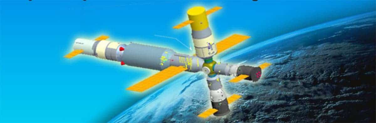 China Astronaut Training Center presentation depicts China's planned space station. (c) China Astronaut Research and Training Center