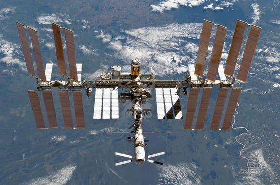 The International Space Station as photographed by an STS-133 crew member on space shuttle Discovery. (c) NASA