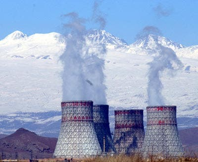 The Metsamor nuclear power plant at the base of Armenia's towering symbol, Mount Ararat.