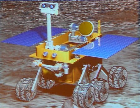 An image of the Chang'e-3 Chinese Lunar Rover presented at the IEEE's International Conference on Robotics and Automation in Shanghai. (c) IEEE Spectrum
