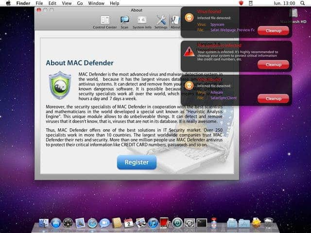MacDefender Apple Mac malware