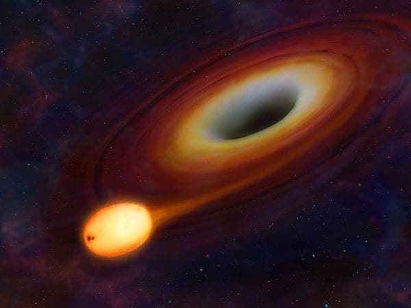 Artist impression of a star getting ripped by a supermassive black hole. (c) Mark A. Garlick, University of Warwick