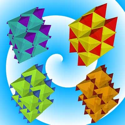 "Filling three-dimensional space by by ""tiling"" together solid figures known as tetrahedra (with four triangular faces) and octahedra (with eight triangular faces). Captioned above are just a few of the infinity of structure variants that can be created. (c) Salvatore Torquato"