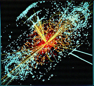A computer generated image of a Higgs interaction