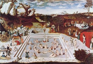 """The Fountain of Youth"" painting by Lucas Cranach the Elder. Scientists are trying to prolong life by employing cell and gene treatments."