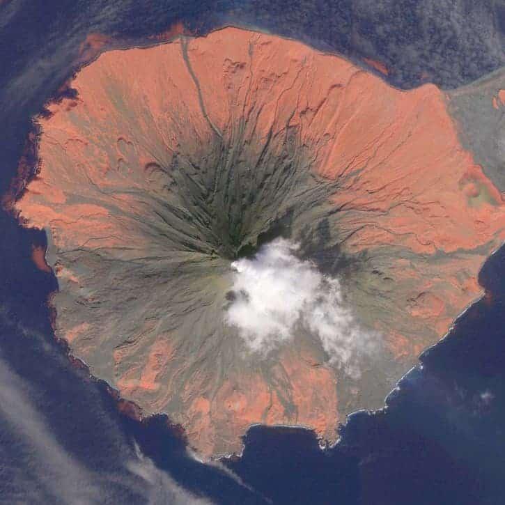 Aerial image of Cleveland Volcano. (c) Alaska Volcano Observatory
