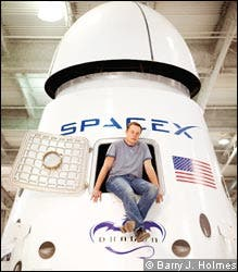 SpaceX founder, Elon Musk, in the Dragon capsule.