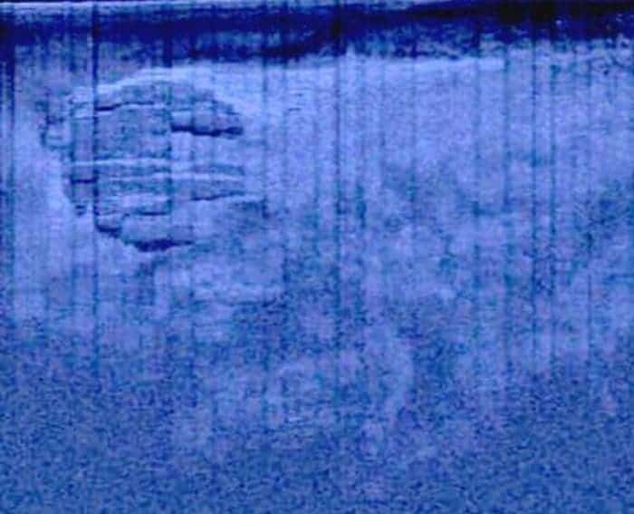 The mysterious USO (unidentified sunken object) sonar scan. If you look closer, you'll see some trails leading to it. (c) Ocean Explorer/Peter Lindberg