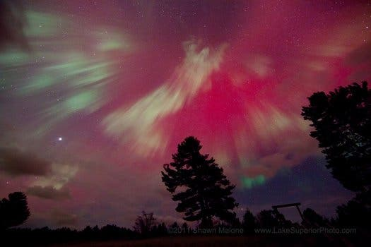 Stunning Northern Lights ... or more like North-ish Lights in Marquette, Michigan Northern Lights. (c) Shawn Malone