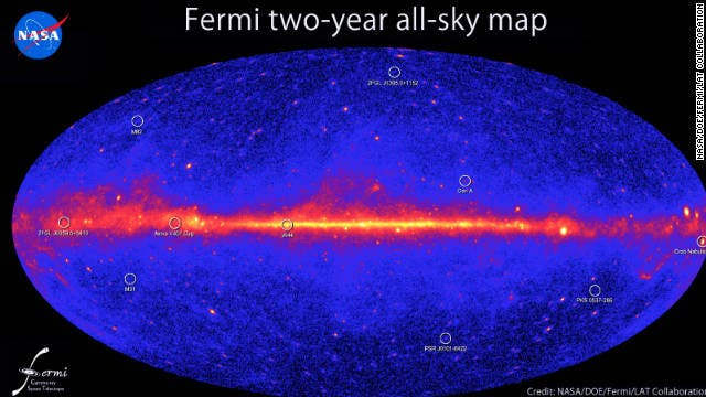 Fermi Space Telescope's map of gamma-ray emissions discovered so far. Nearly 600, a third of the total number of confirmed gamma-rays, have an untraceable origin.