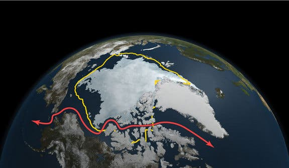 The yellow line depicts the artic ice surface level from the past 30 year average. The red line represents opened up Northwest Passage shipping lanes. (c) NASA Goddard's Scientific Visualization Studio