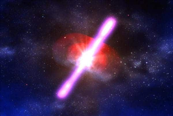 Gamma-ray burst illustration. (c) NASA