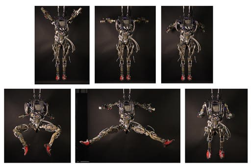 Instances of Boston Dynamics' Petman robot in various human-like positions. (c) Boston Dynamics