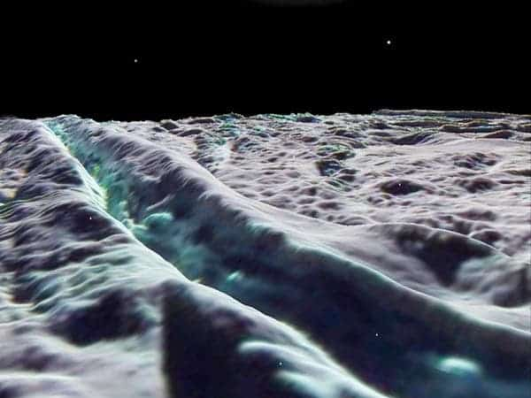 Artist's rendering shows an active tiger stripe, including bluish regions that indicate freshly exposed water ice.Image by Europlanet Outreach/Lunar and Planetary Institute.
