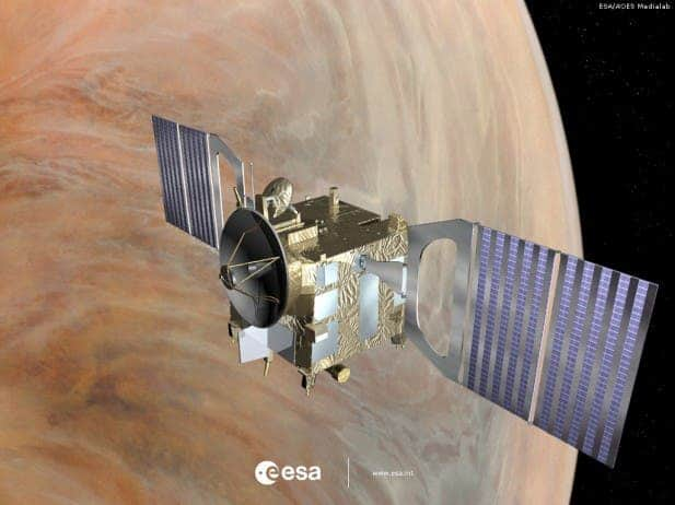 Venus Express has two solar cell panels per wing comprising alternating rows of standard triple junction solar cells as well as highly reflective mirrors to reduce the operating temperatures. (c) ESA