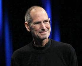 Steve Jobs in one of his favorite black wool turtleneck shirts, during his Nano presentation of 2007.