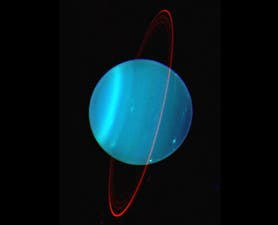Near-infrared views of Uranus and its faint ring system, shown here to highlight the extent to which it is tilted. (c) Lawrence Sromovsky, (Univ. Wisconsin-Madison), Keck Observatory.