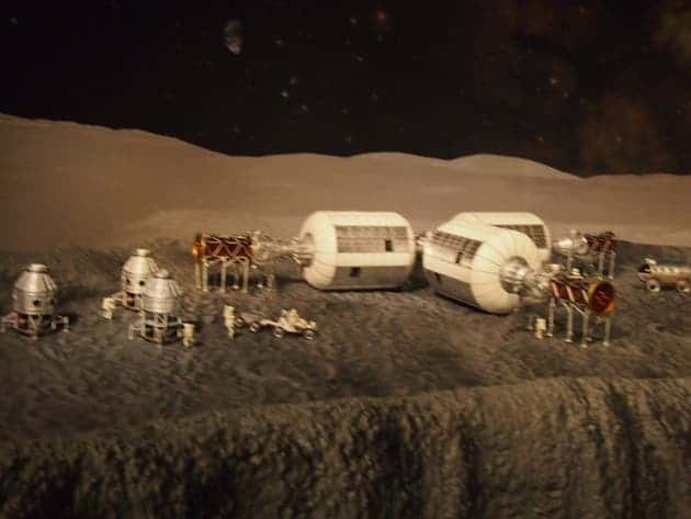 A lunar base model on display at the exhibit. (photo credit unknown)