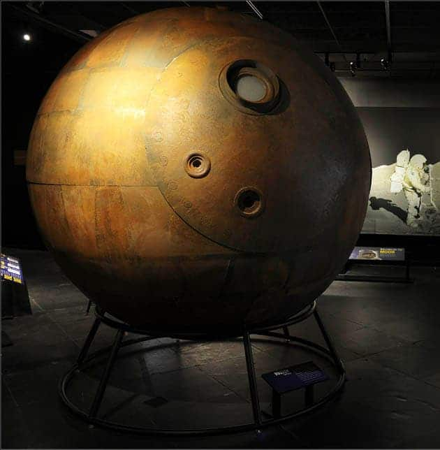 The Vostok capsule, in which Yuri Gagarin embarked on April 12, 1961 to become the first person in space. (c) AMNH\R. Mickens