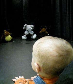 """Good moose, bad moose. The elephant? All the same."" Babies as young as eight months old want to see bad puppets punished for anti-social behaviour. (UBC)"