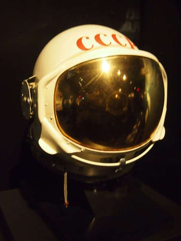 A prototype for a helmet designed to be worn by Russian cosmonauts on the moon. The Russian lunar program was shortly decommissioned, however, after 1969.