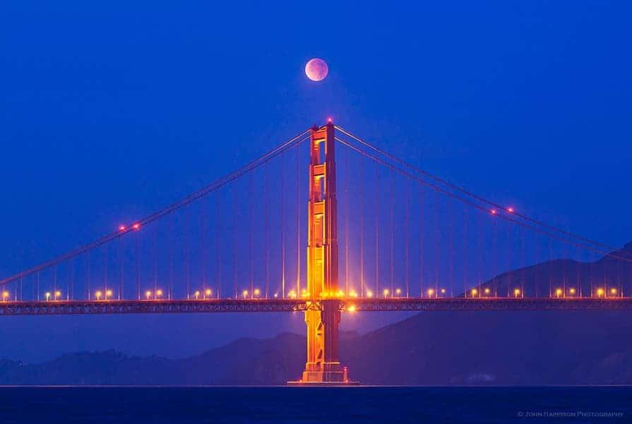 The Dec. 10 total eclipse over the San Francisco's Golden Gate Bridge. (c) John Harrison Photography