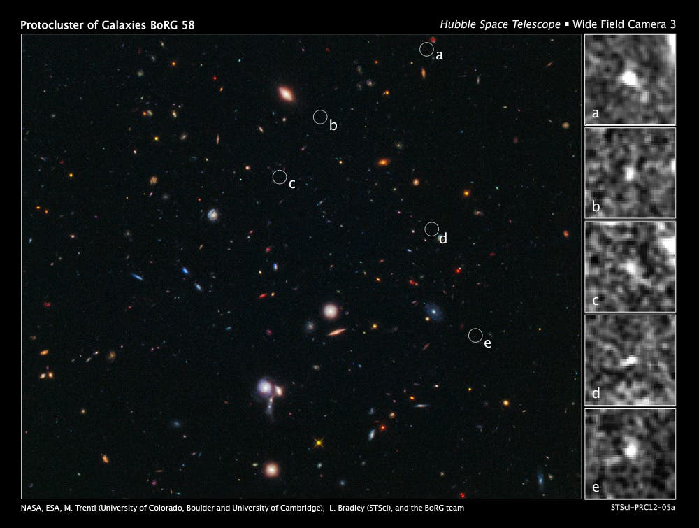 Hubble Spies Building Blocks of Most Distant Galaxy Cluster. Click for high resolution. (c) NASA