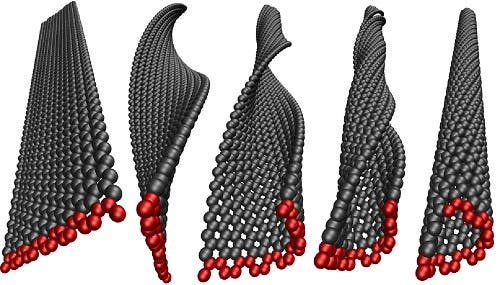 Graphene nanoribbons can be transformed into carbon nanotubes by twisting. Photo: Pekka Koskinen