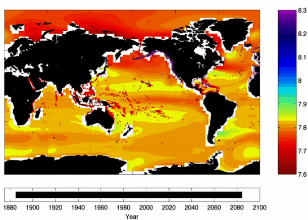 A computer forecast of how the ocean pH will look in 2100 under emission scenarios. Purple dots show cold-water coral reefs. Red dots show warm-water coral reefs. The pH scale is shown on the right. (Credit: NOAA)