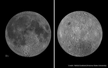 The Earth facing side of the moon (left), featuring a human face-like pattern, and the opposite facing side (right). (c) NASA