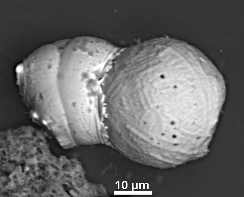 Scanning electron microscope image showing the 'tectonic' effects of the collision of one spherule with another during the cosmic impact. (c) UCSB
