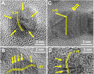 Images of single and twinned nanodiamonds show the atomic lattice framework of the nanodiamonds. Each dot represents a single atom. (c) UCSB