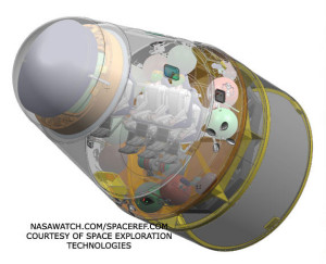 The Dragon capsule, a reusable spacecraft developed by SpaceX, set to dock with the International Space Station in a forthcoming launch.