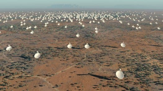 Artist impression of the  SKA radio telescope were it to be built in Australia. (c) SKA Program Development Office