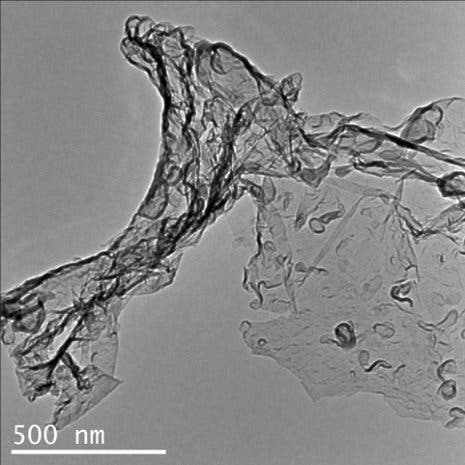 Transmission electron microscopy image of carbon nitride created by the reaction of carbon dioxide and Li3N.