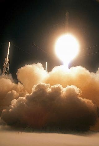The Falcon 9 SpaceX rocket lifts off from space launch complex 40 at the Cape Canaveral Air Force Station in Cape Canaveral, Fla., early Tuesday. This launch marks the first time, a private company sends its own rocket to deliver supplies to the International Space Station.(AP Photo/John Raoux) Photo: Ap/getty / SL