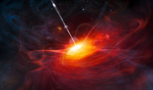 Artist's rendering of ULAS J1120+0641, a very distant quasar powered by a black hole with a mass two billion times that of the Sun. (c) ESO/M. Kornmesser