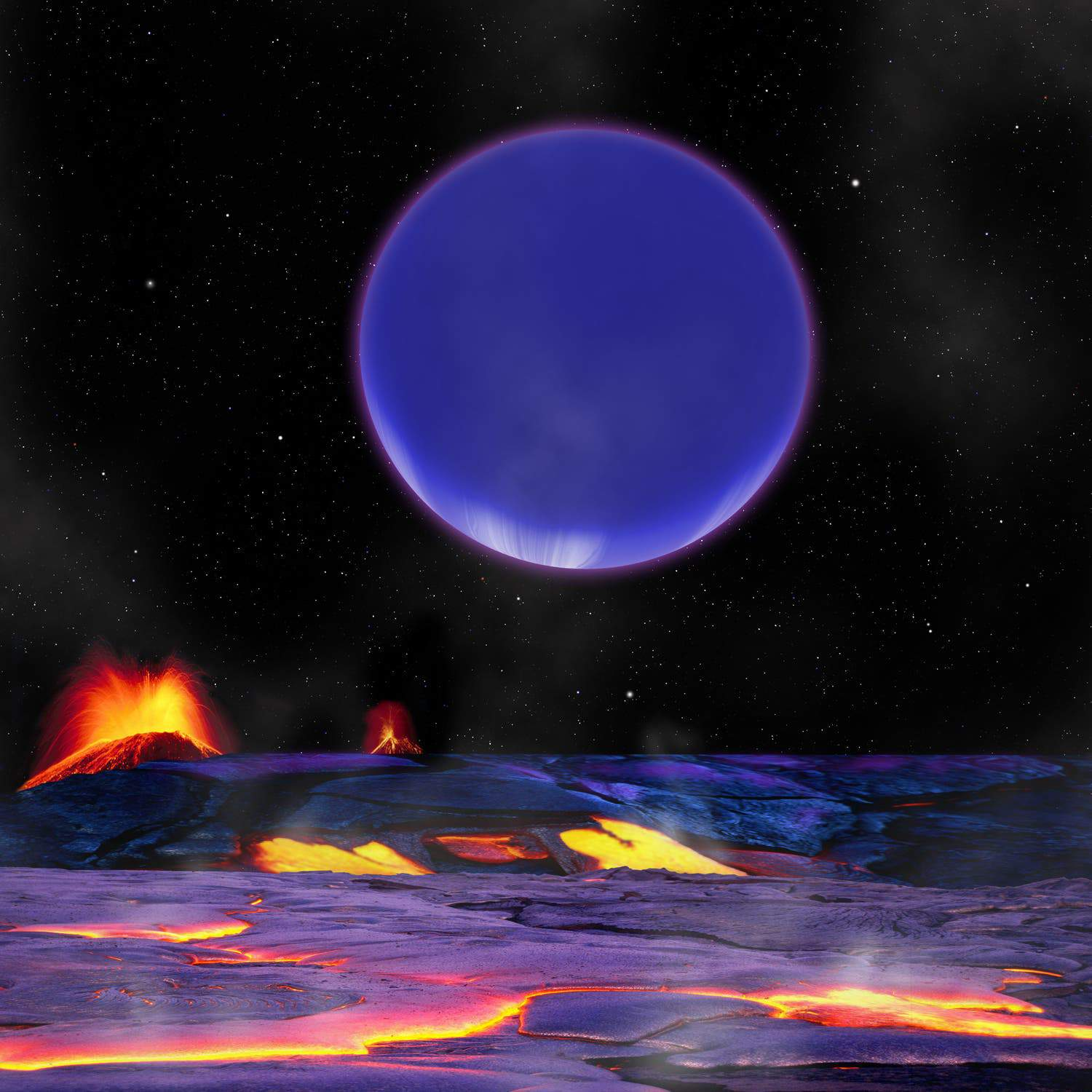 Artist impression shows a beautiful, purple Kepler-36c dominating the skyline, as seen from the surface of the smaller Kepler-36b. (c) David Aguilar, Harvard-Smithsonian Center for Astrophysics