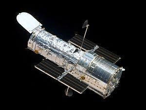 The Hubble Space Telescope as seen from the departing Space Shuttle Atlantis, flying Servicing Mission 4 (STS-125), the fifth and final human spaceflight to visit the observatory.