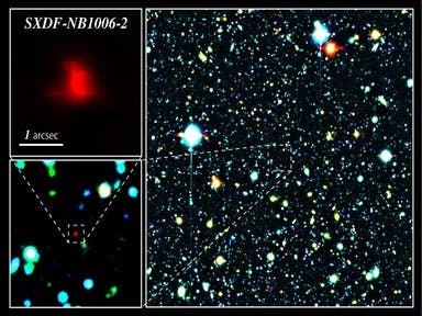 Colour composite image of the Subaru XMM-Newton deep survey field. In the right panel, the red galaxy at the centre of the image is the most distant galaxy, SXDF-NB1006-2, according to the astronomers. Image by NAOJ