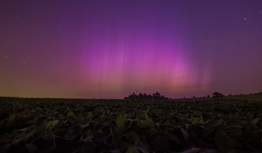 Northern Lights as seen from the countryside of rural Iowa in the wee hours of the morning, as captured by CNN ireport correspondent moonpeep.
