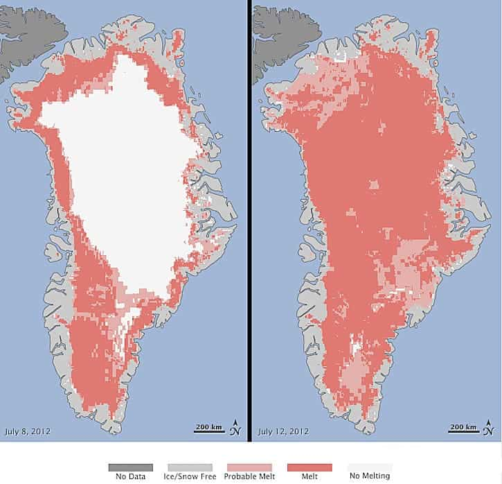 NASA satellite images showed the extent of surface melt on Greenland's ice sheet on July 8, on the left, and July 12, on the right. (c) NASA