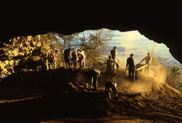 Workers explore South Africa's Border Cave. A study shows modern culture may have emerged in the area much earlier than previously thought.(c) Paola Villa/University of Colorado