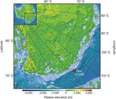 Pre-glacial topographical reconstruction for Antarctica during Eocene–Oligocene times.