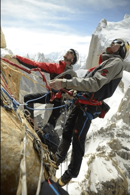 Peter Ortner and David Lama ascend the Trango Summit in northern Pakistan's Karakoram mountain range. Photos taken by a camera mountain on a small, remote controlled drone. (c) Aurora Photos for Mammut