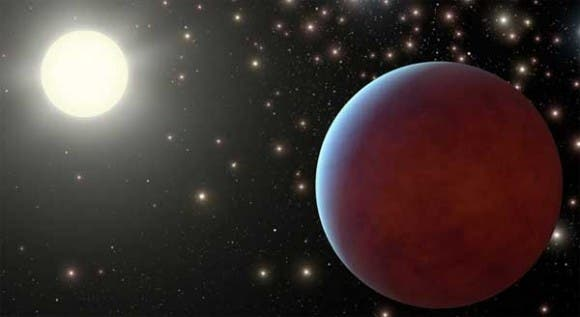An artist impression of one of the two gas giants discovered orbiting a sun-like star, part of a star cluster. (c) NASA/JPL-Caltech